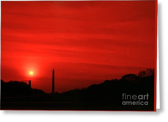 Sunset On The National Mall Washington Dc Greeting Card