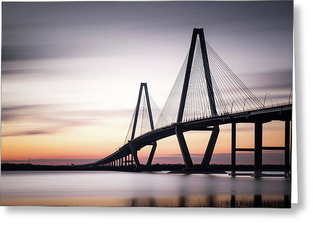Sunset On The Ravenel Bridge Greeting Card by Ivo Kerssemakers