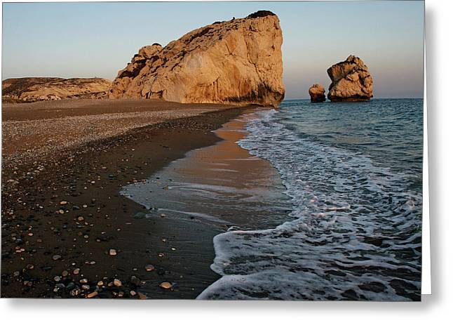 Sunset On The Rock Of Aphrodite Greeting Card