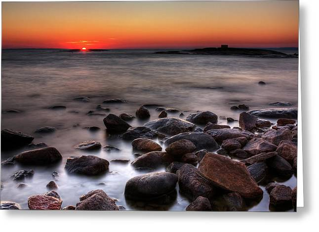 Sunset On The Rocks Greeting Card by Brian Boudreau
