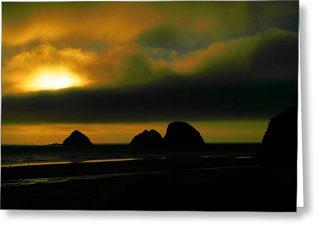 Sunset On The Rocks Greeting Card by Jeff Swan