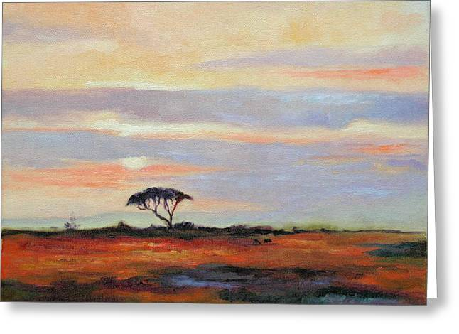 Sunset On The Serengheti Greeting Card by Ginger Concepcion