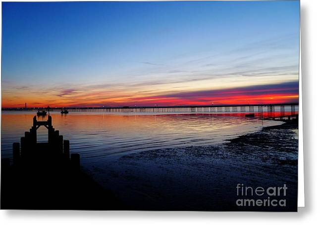 Sunset On The Shore Of Southend Greeting Card