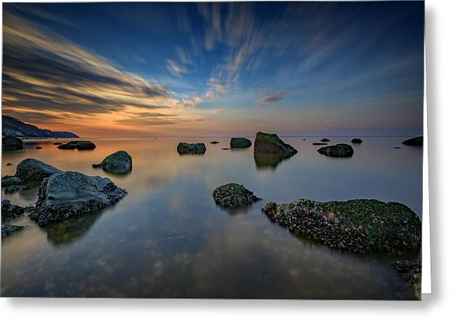 Sunset On The Sound Greeting Card by Rick Berk