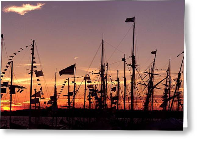 Tall Ships Greeting Cards - Sunset on the Tall Ships Greeting Card by Frederic A Reinecke