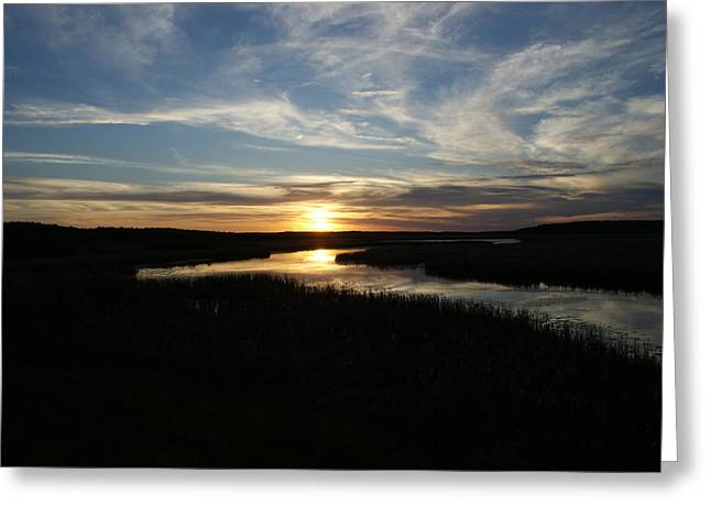Greeting Card featuring the photograph Sunset On The Totagatic by Ron Read