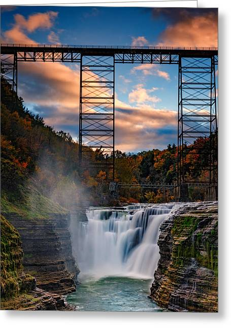 Sunset On The Upper Falls Greeting Card