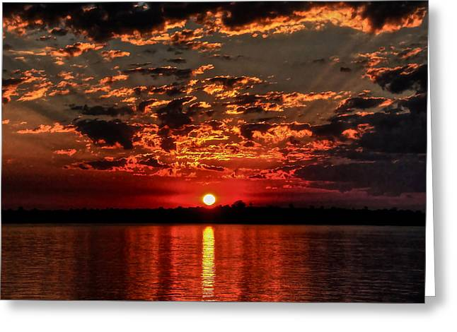 Sunset On The Zambezi Greeting Card