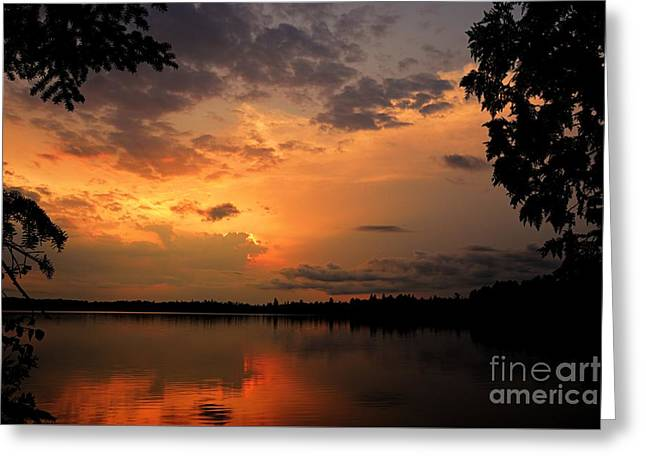 Greeting Card featuring the photograph Sunset On Thomas Lake by Larry Ricker