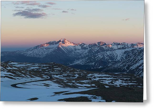 Sunset On Trail Ridge Road  Greeting Card by Aaron Spong