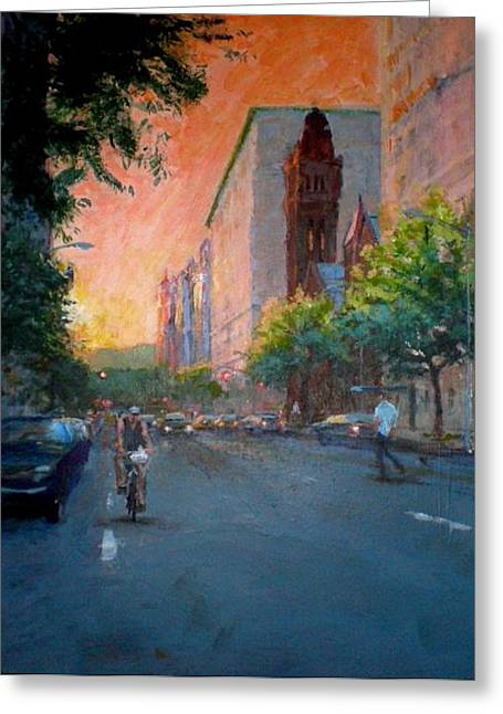 Sunset On West 86th Street Greeting Card