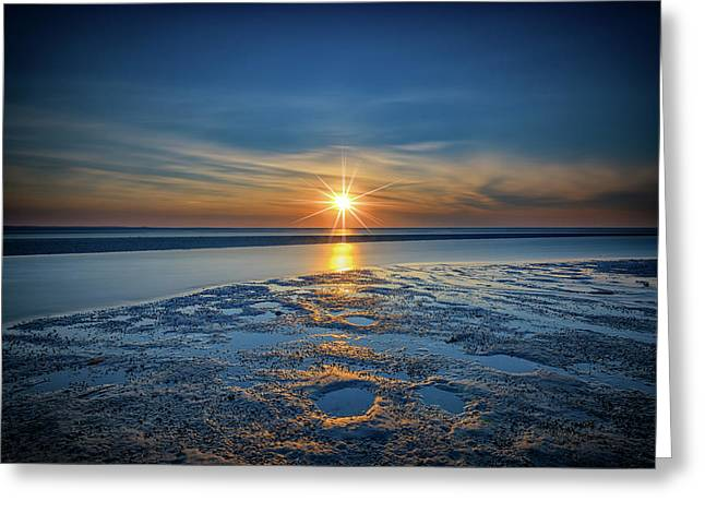 Sunset On West Meadow Beach Greeting Card by Rick Berk