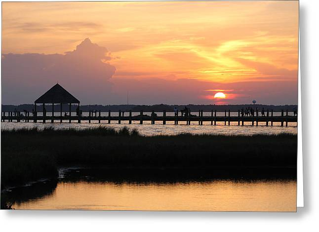 Sunset On Wetlands Walkway Greeting Card