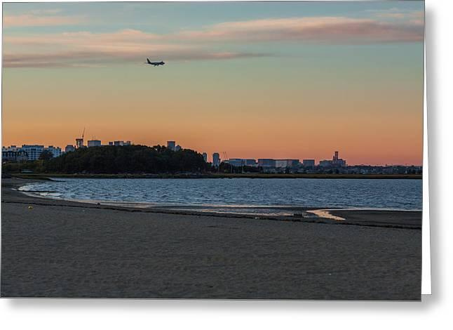Sunset On Wollaston Beach In Quincy Massachusetts Greeting Card