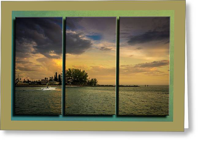 Sunset Outing Triptych Greeting Card