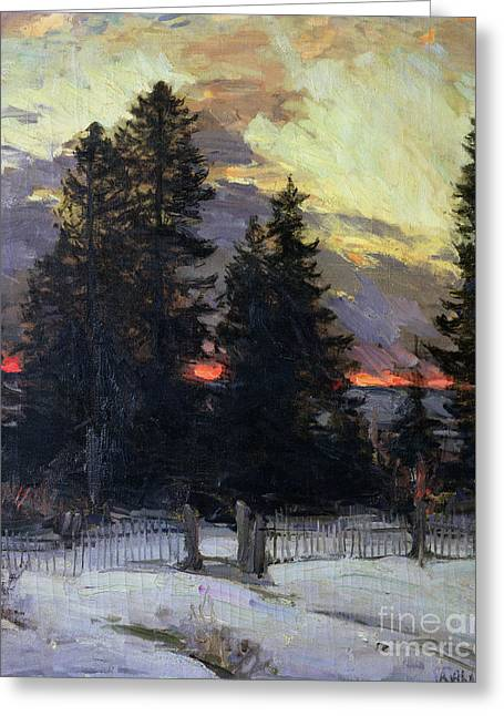 1862 Greeting Cards - Sunset over a Winter Landscape Greeting Card by Abram Efimovich Arkhipov