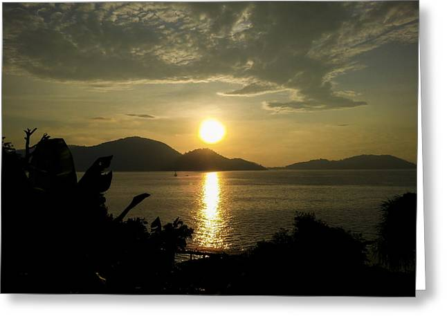 Sunset Over An Island Greeting Card