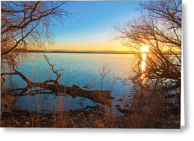 Greeting Card featuring the photograph Sunset Over Barr Lake by Tom Potter