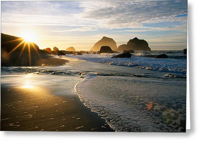 Sunset Over Beach Scene Greeting Card by Panoramic Images