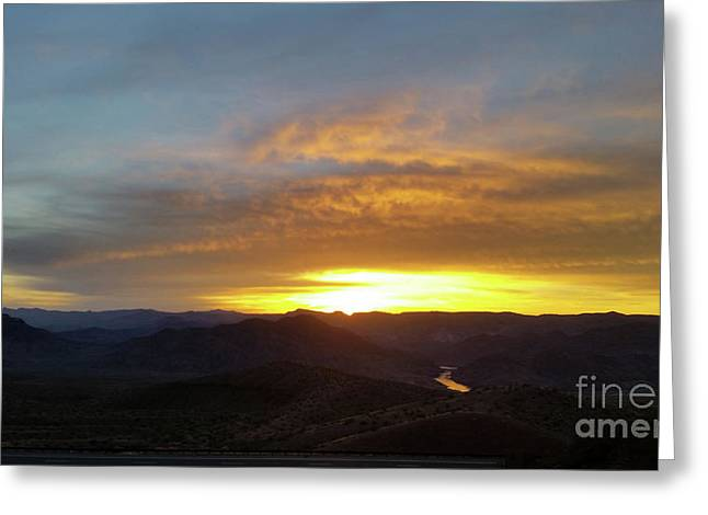 Sunset Over Black Canyon And River #1 Greeting Card