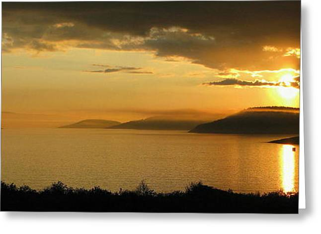 Sunset Over Blondin And Skin Island Greeting Card by Laura Wergin Comeau
