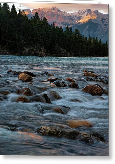 Greeting Card featuring the photograph Sunset Over Bow River In Banff National Park by Dave Dilli