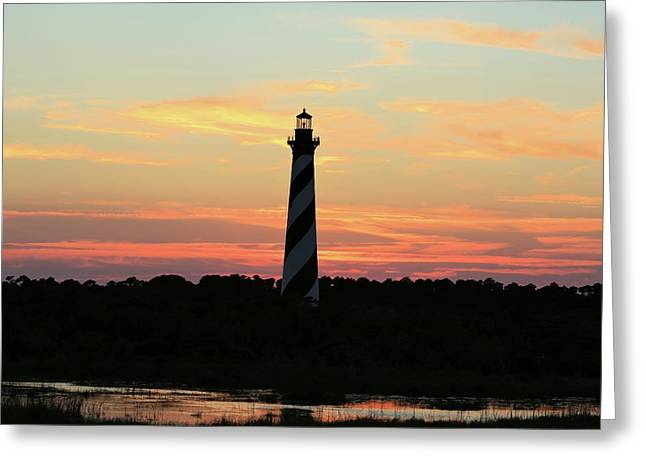 Sunset Over Cape Hatteras Light Greeting Card