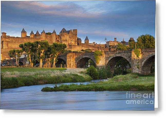 Sunset Over Carcassonne Greeting Card by Brian Jannsen