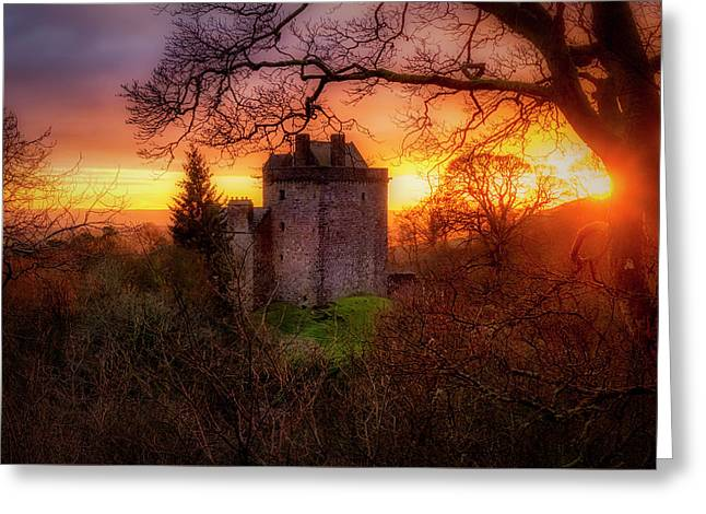 Sunset Over Castle Campbell In Scotland Greeting Card