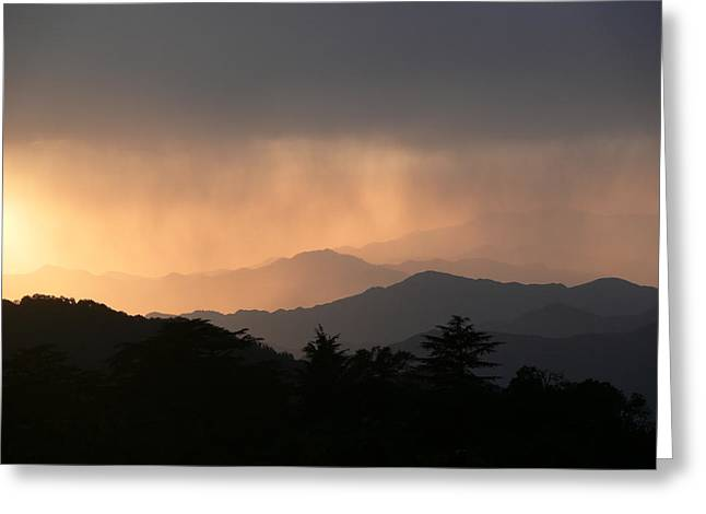 Sunset Over Chakrata Hills Greeting Card by Padamvir Singh