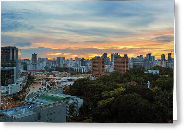 Sunset Over Clarke Quay And Fort Canning Park Greeting Card by David Gn