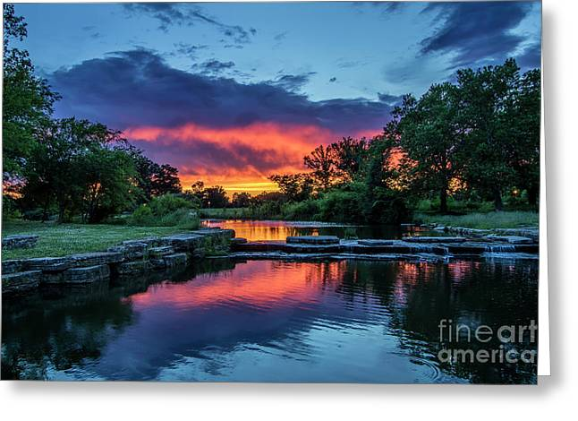 Sunset Over Deer Lake In Forest Park, St Louis, Missouri Greeting Card by Garry McMichael