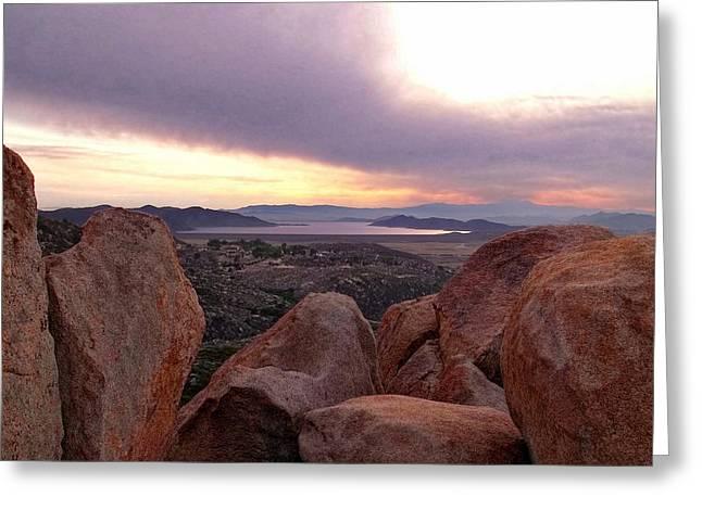 Sunset Over Diamond Valley Lake Greeting Card