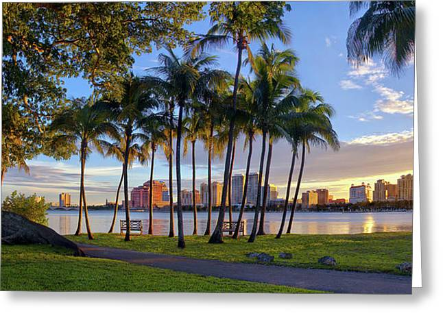 Greeting Card featuring the photograph Sunset Over Downtown West Palm Beach From Palm Beach Island by Justin Kelefas