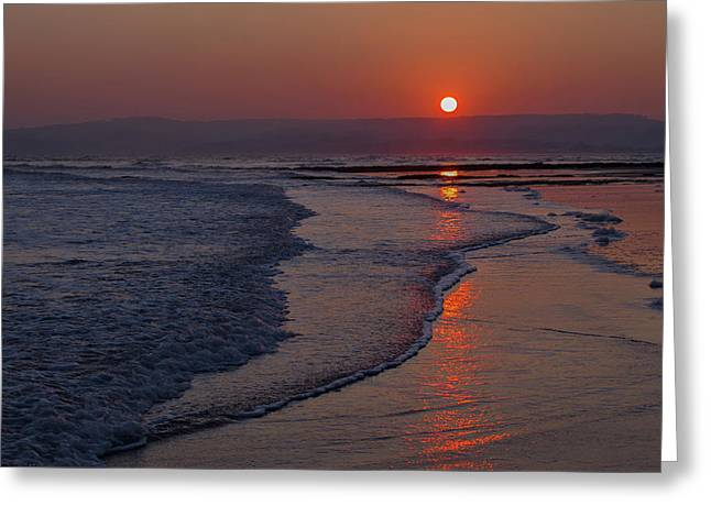 Sunset Over Exmouth Beach Greeting Card