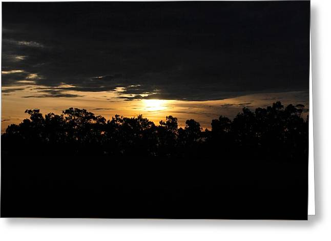 Sunset Over Farm And Trees - Silhouette View  Greeting Card