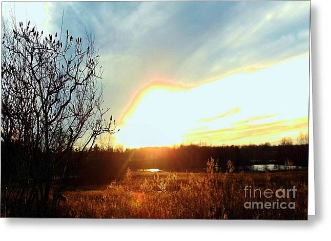 Sunset Over Fields Greeting Card