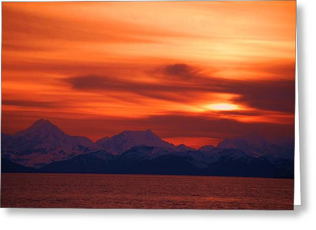 Sunset Over Glacier Bay Greeting Card