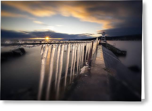 Sunset Over Grand Marais Lighthouse Breakwall Greeting Card