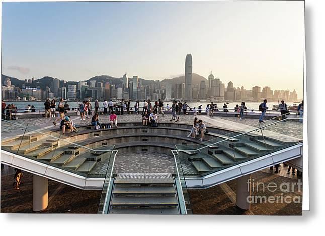Sunset Over Hong Kong Skyline From Tsim Sha Tsui In Kowloon Greeting Card