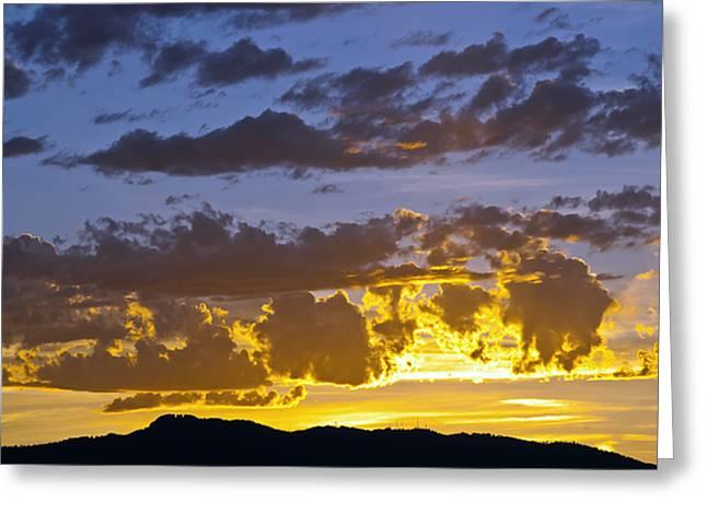 Sunset Over Horsetooth Rock Greeting Card