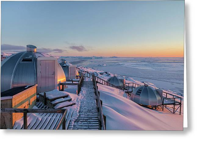 sunset over Igloos - Greenland Greeting Card