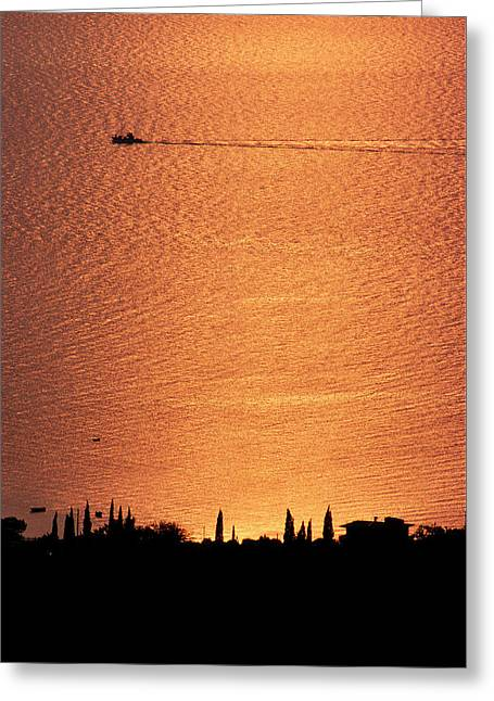 Sunset Over Kardamyli, Mani, Greece Greeting Card by Peter Eastland