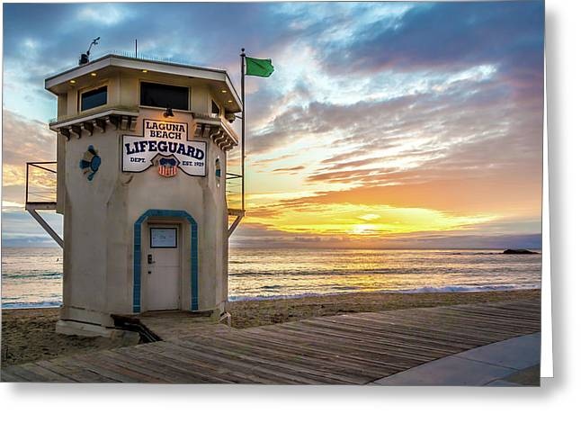 Sunset Over Laguna Beach Lifeguard Station Greeting Card