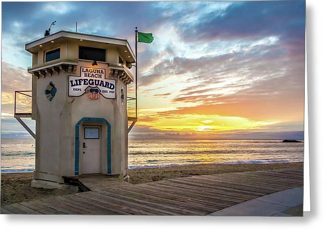 Greeting Card featuring the photograph Sunset Over Laguna Beach Lifeguard Station by Cliff Wassmann