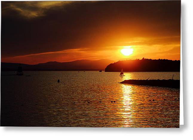 Sunset Over Lake Champlain Greeting Card