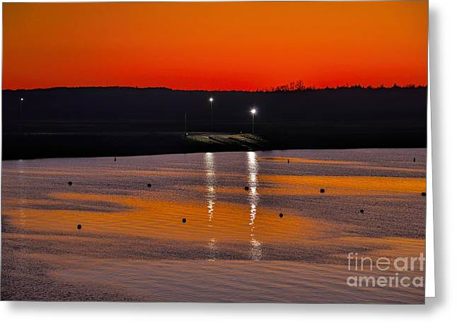 Greeting Card featuring the photograph Sunset Over Lake Texoma by Diana Mary Sharpton