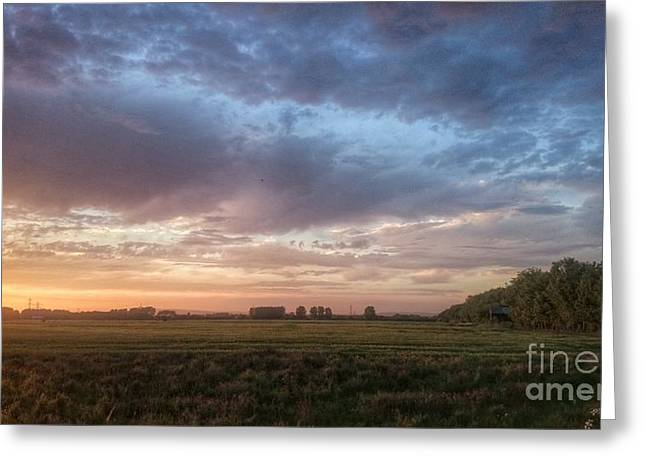 Sunset Over Cheshire Landscape Greeting Card by Isabella F Abbie Shores FRSA