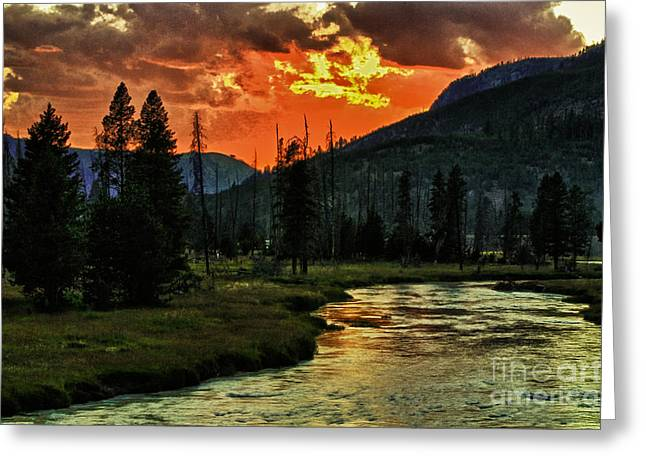 Sunset Over Madison River Greeting Card by Edward R Wisell