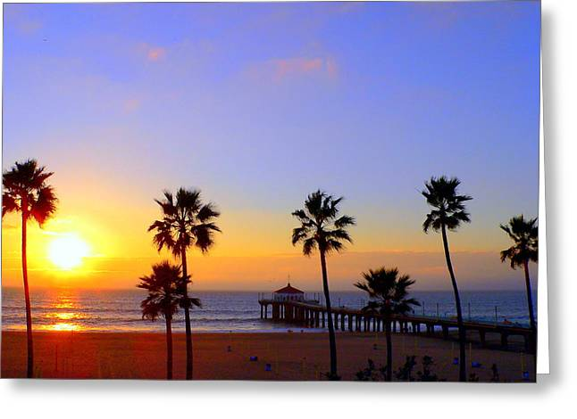 Sunset Over Manhattan Beach Greeting Card